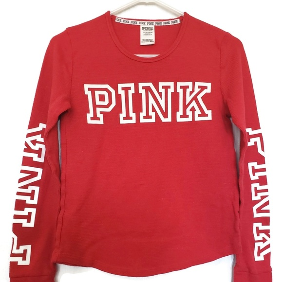 f4054cfb5a4bf PINK Victoria Secret Red Long Sleeve Tee Size SM